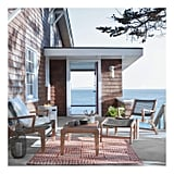 Oceans Wood and Rope Patio Club Chair and Ottoman Set