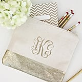 Glittery Monogrammed Pencil Pouch