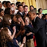 After touring the different science projects, President Obama gave a speech at the White House Science Fair and chatted with students.