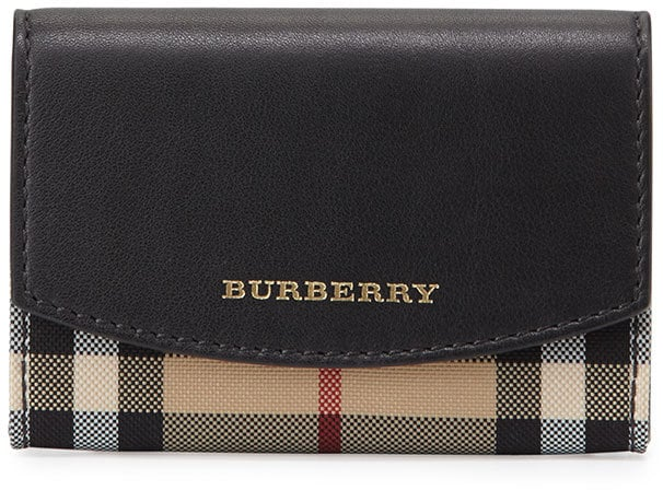 Burberry Chesham Horseferry-Check Card Case, Black ($285)