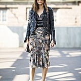Christine Centenera crafted a cool mix with abstract print, leather, and statement-making heels. Source: Le 21ème   Adam Katz Sinding