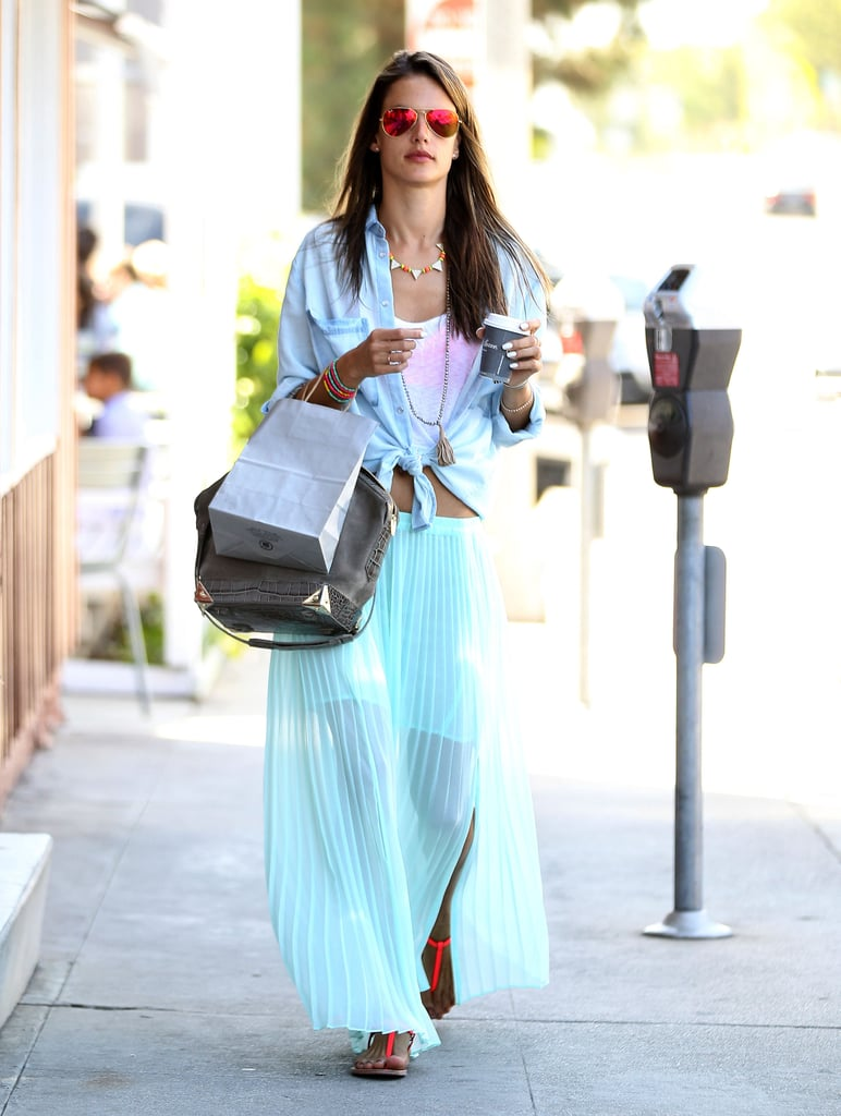 You can always tie a chambray blouse over your tank for a relaxed flair à la Alessandra Ambrosio.