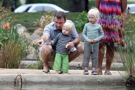 Liev Schreiber, accompanied by a nanny, takes his two sons Alexander and Samuel for a dad's day out in Santa Monica.