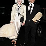Dermot O'Leary and wife Dee dressed as Karl Lagerfeld and his cat Choupette for Jonathan Ross's 2013 party.