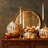 Light-Up Glass Pumpkin in Silver