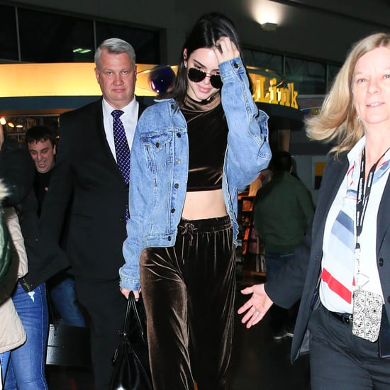 Kendall Jenner Wearing Velvet Pants January 2017