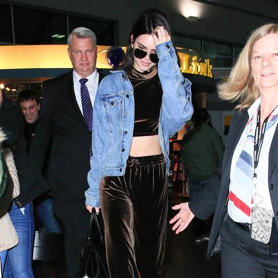 Kendall Jenner Wearing Velvet Pants January 2017