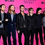 Adam Levine and the rest of Maroon 5 hit the pink carpet.