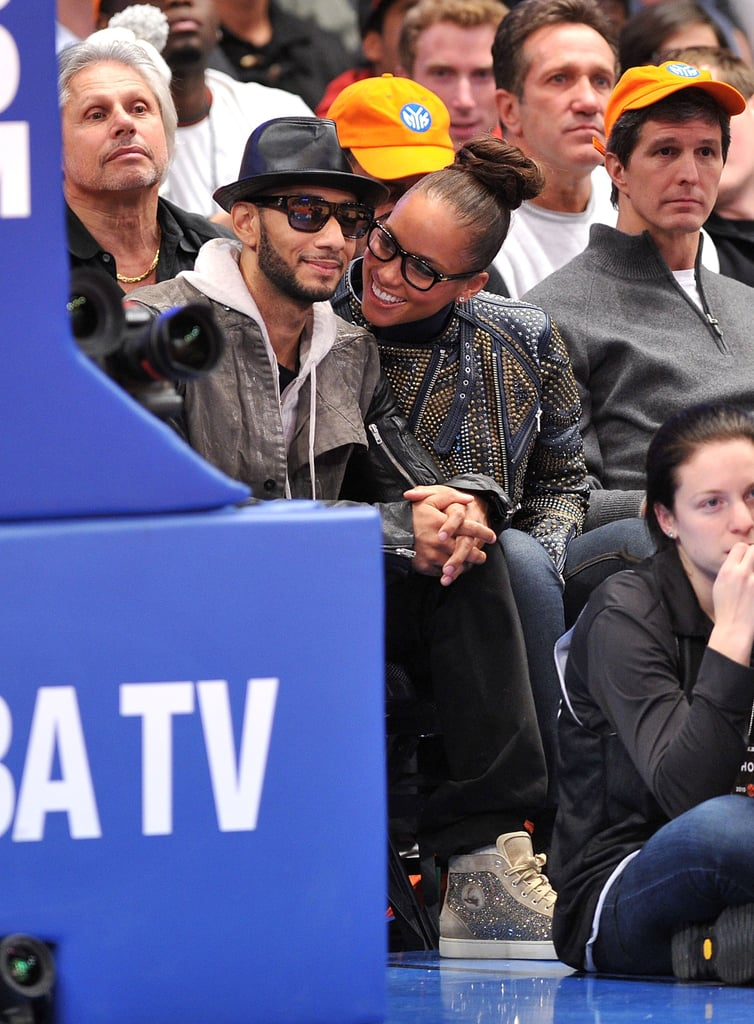 "Alicia Keys and Swizz Beatz made this week's Knicks vs. Heat game at NYC's Madison Square Garden their own personal date night with lots of kisses and whispers in their court-side seats. The happy parents of three-month-old Egypt were able to celebrate the home team's win against LeBron James's squad with other fans like Spike Lee, Kanye West, Sam Worthington, and David Duchovny. Alicia and Swizz had an additional reason to party earlier this week, when she turned 30 on Tuesday — she's among the many celebs who are marking that milestone in 2011! She was grateful for all the love she received from fans, and took to Twitter to write, ""Thank you so much for all of you birthday wishes! I'm so grateful for your love and another year ahead! Blessings and love to my family!"" Her evening of basketball with husband Swizz was their latest fun one out on the town, after they toasted his new job at NYU with a party late last year."