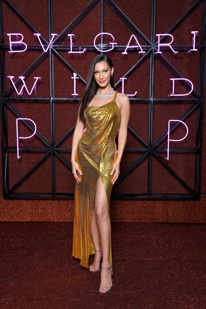 Bella Hadid Gold Versace Dress in Italy