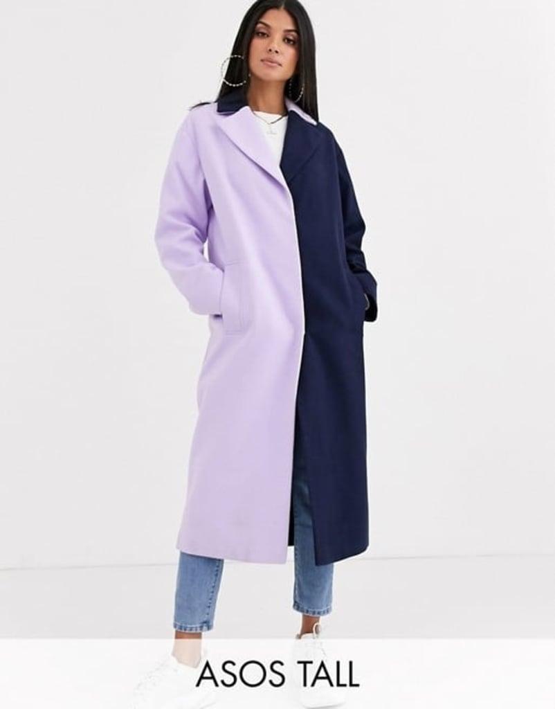 Asos Design Tall Colourblock Coat