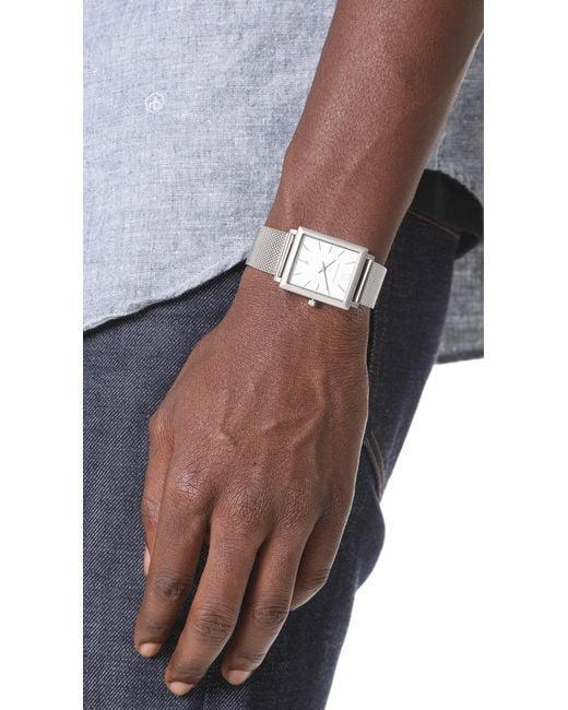If he's into a classic rectangular face shape, shop Larsson & Jennings's Norse CM Watch ($335).