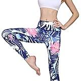 Jescakoo Lady's Printed Wide Waistband High Compression Workout Yoga Leggings
