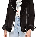 Topshop Faux Shearling Biker Jacket