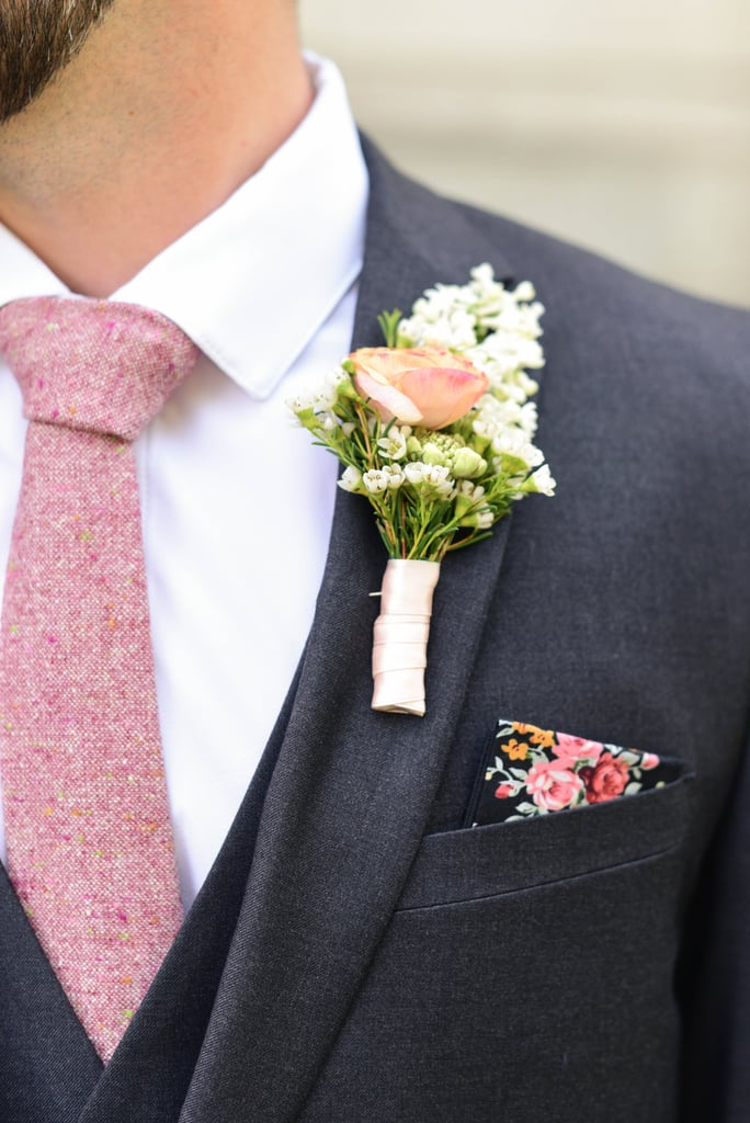 The groom can be on theme too with a pink tie and boutonniere.