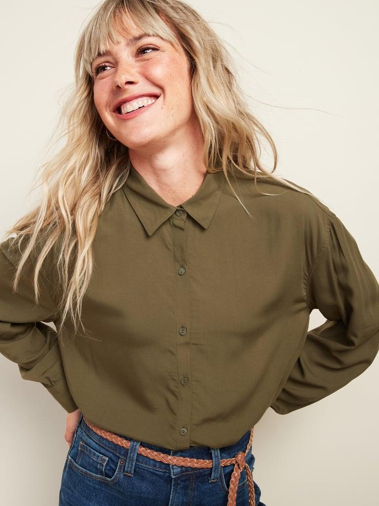 Oversized Soft-Woven Twill Tunic Shirt