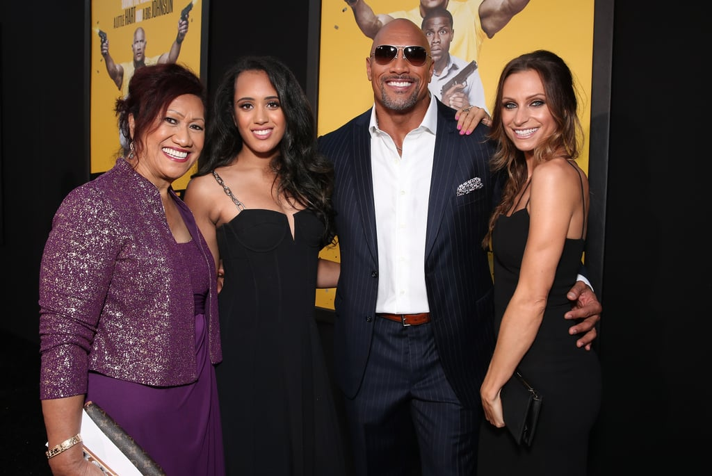 Just days after wrapping up his whirlwind press tour in Spain, Dwayne Johnson attended Friday's LA premiere of his latest film, Central Intelligence, with his family in tow. The handsome actor arrived with his mother, Ata Johnson, daughter Simone Alexandra, and longtime girlfriend Lauren Hashian, and later linked up with his hilarious costar, Kevin Hart, on the red carpet. Missing from the fun, though, was Dwayne's youngest daughter, Jasmine, whom he often shares photos and videos of on social media. See more of Dwayne's latest appearance, and then check out all the times he proved his heart was actually very unrock-like.