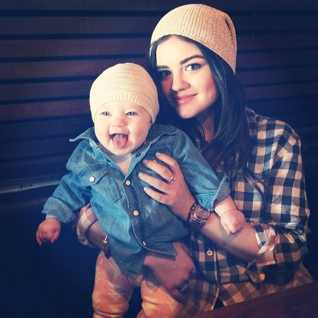 Lucy Hale wore matching beanies with a baby. Beanie babies! Source: Instagram user lucyhale