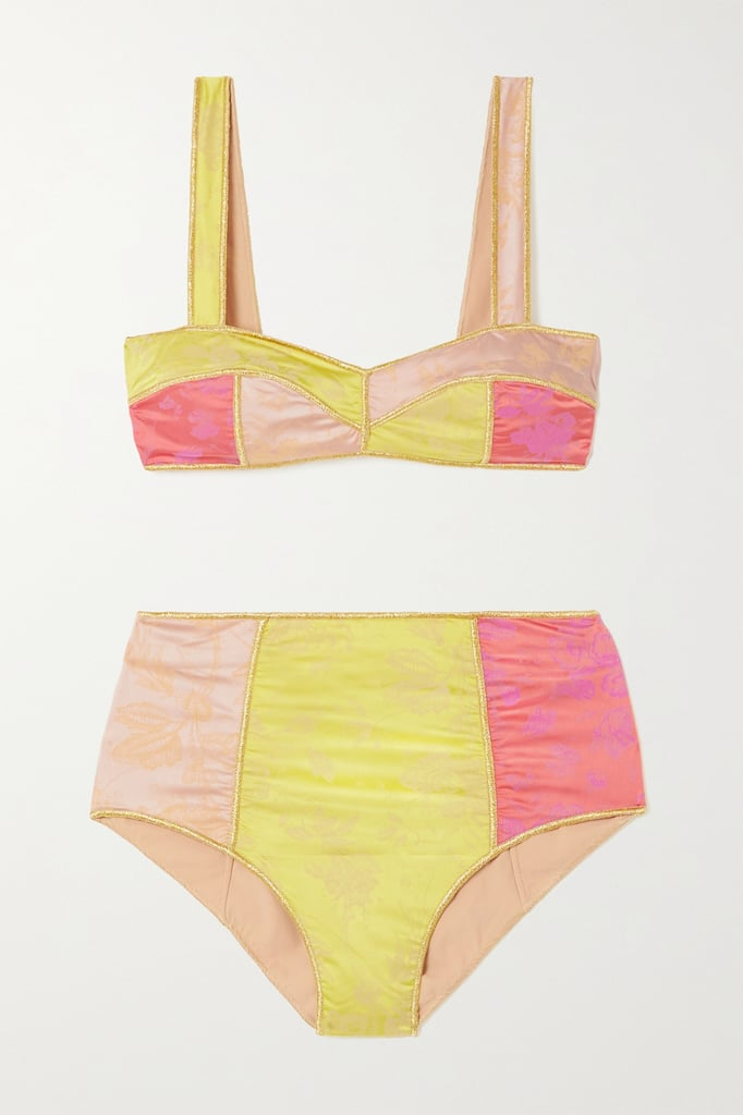 Oséree Yellow Blossom Colorè Floral Jacquard Bikini