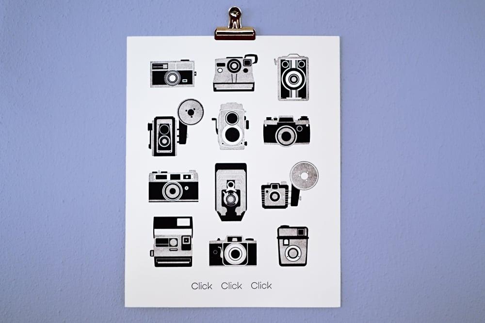 Click Click letterpress camera print