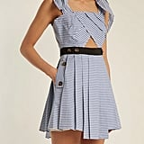 Self-Portrait Tie-Shoulder Striped Cotton Minidress