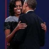 Michelle and Barack embraced after the final presidential debate.