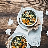 Green Tea and Chickpea Soup With Garlic Tortilla Triangles