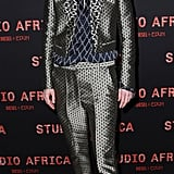 Tilda Swinton wore a patterned suit to a Diesel+Edun party on Sunday.