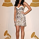 For the 2009 Grammy nominations concert, Katy was all smiles in an embroidered minidress and platform heels.