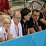 On day two of the Olympics, the prince and princess watched a swimming event.