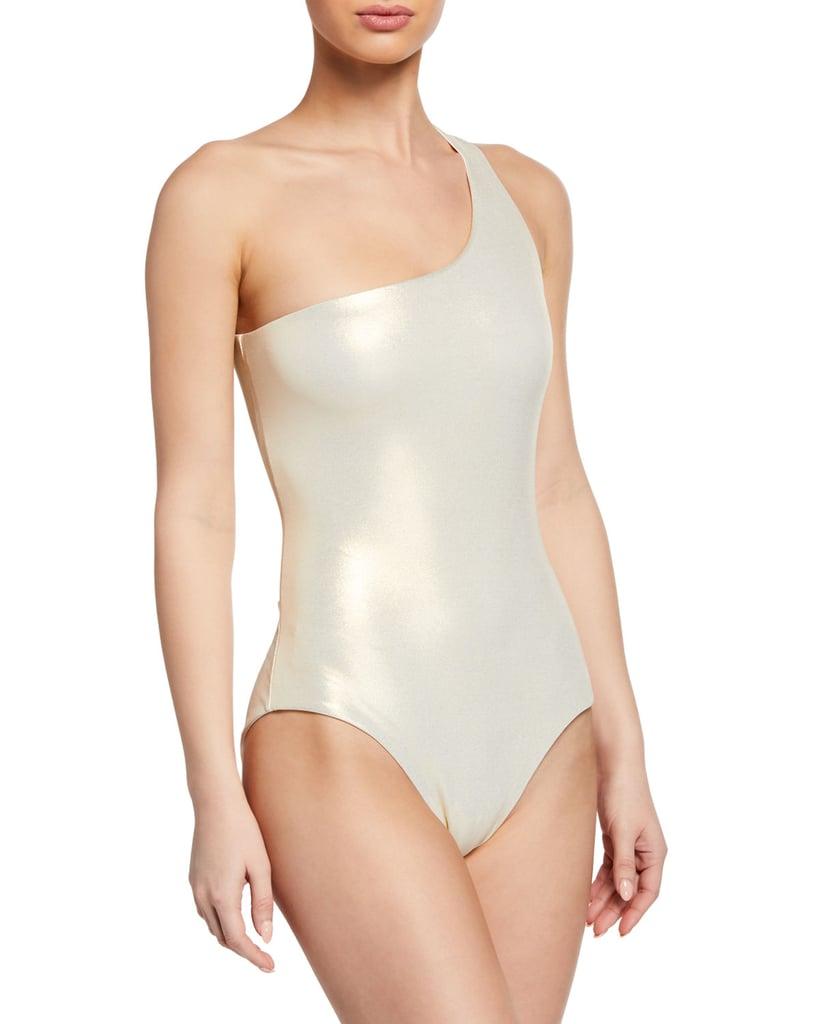 Melissa Odabash Metallic One-Shoulder One-Piece Swimsuit