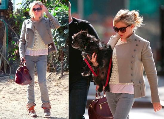 Photos of Sienna Miller in New York City wearing Twenty8Twelve and Prada Handbag