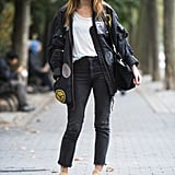 A high-impact parka gave these skinnies and boots a sporty finish. Source: Adam Katz Sinding