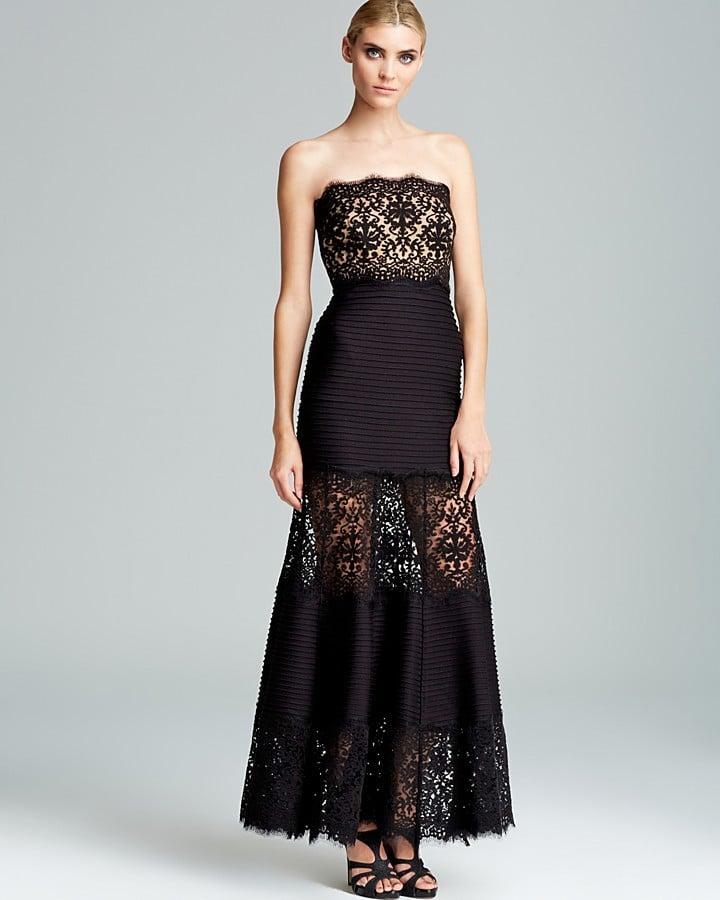 Tadashi Shoji Black Sheer Lace Strapless Dress ($428) | Diane Kruger ...