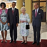 The Obamas looked cheery during an event with the Queen and Prince Philip.