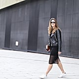 A Leather Jacket, an LBD, and White Trainers