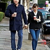 Ben and Jennifer held hands during a daytime stroll in LA in November 2013.
