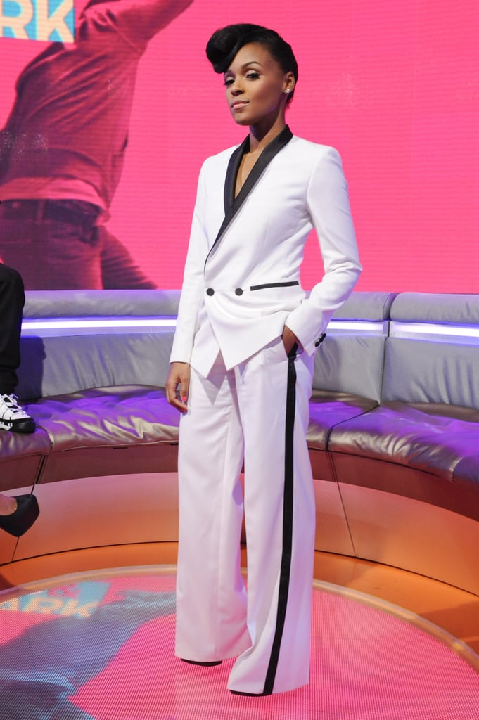 Janelle Monáe wore Topshop at BET's 106 & Park in New York.