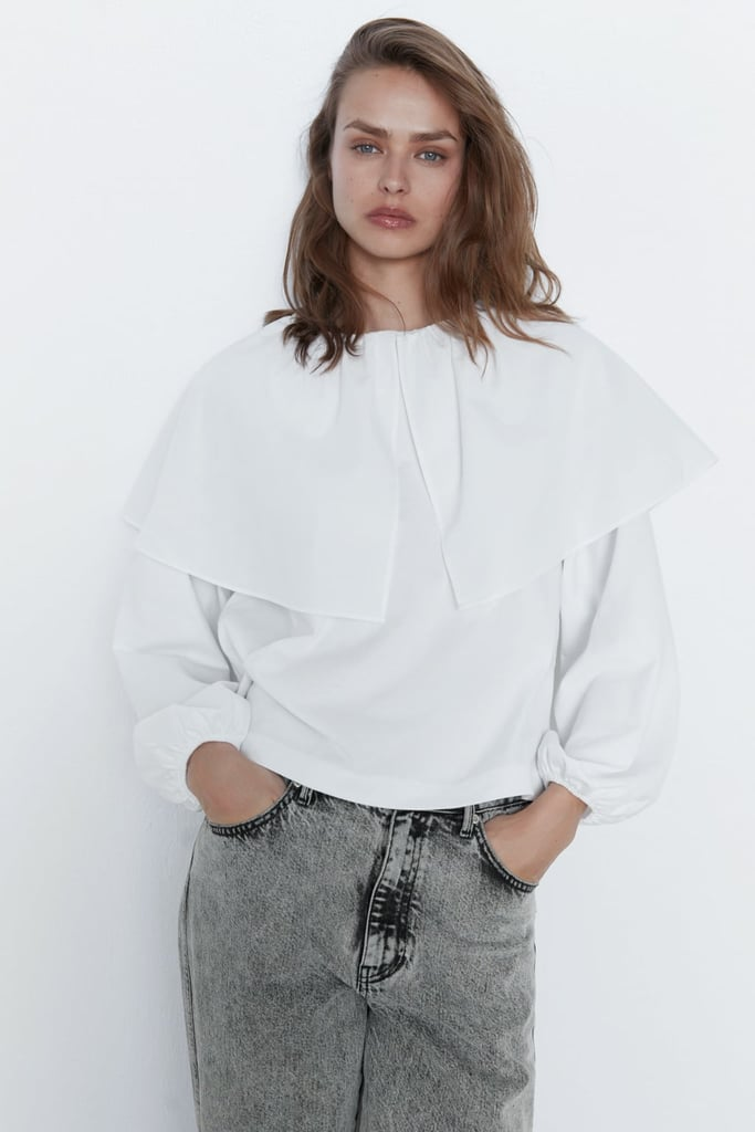 Zara Top With Poplin Detail