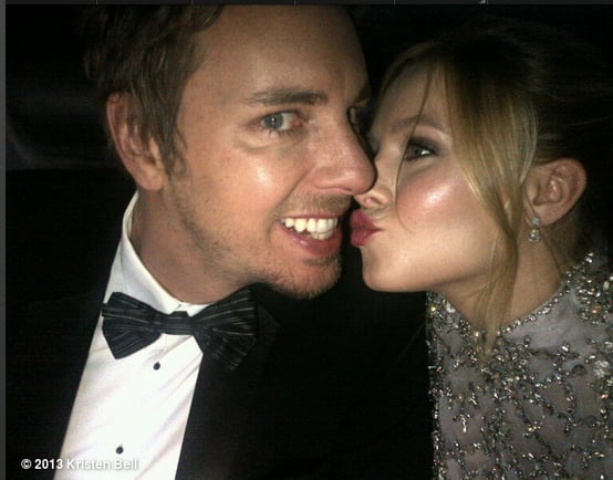 Kristen Bell and Dax Shepard showed PDA in their limo on the way to the Globes. Source: Kristen Bell on WhoSay