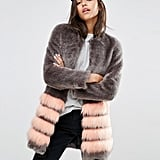 Unreal Fur Tundra Faux Fur Coat With Stripe ($347)