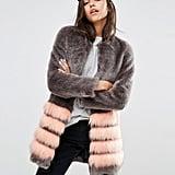 Unreal Fur Tundra Faux Fur Coat With Stripe ($347)
