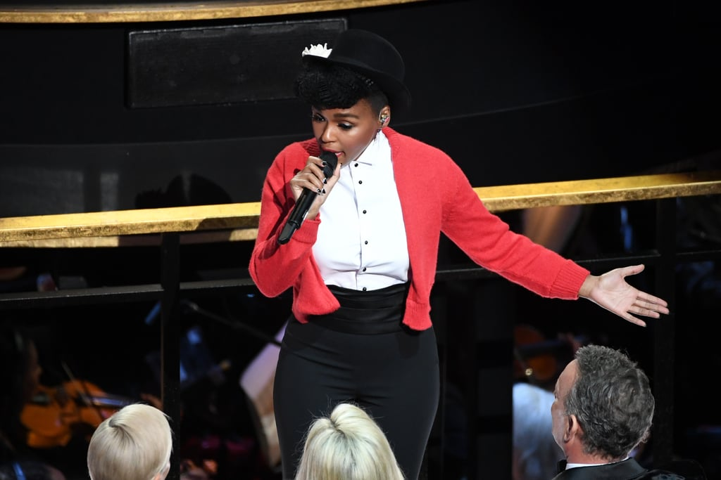 "Janelle Monáe started the Oscars on a high note as she gave a dazzling performance on Sunday night. Donning a red sweater, the 34-year-old singer opened the show by performing the theme song to Mister Rogers' Neighbourhood. She even shared a special moment with Tom Hanks, who played Fred Rogers in the Oscar-nominated film A Beautiful Day in the Neighbourhood, as she stepped into the crowd and gave him her hat.  The performance only got better from there as she sang ""Come Alive (The War of the Roses)"" alongside Billy Porter. During her number, she made a point to call out the show's lack of diversity this year by singing, ""It's time to come alive because the Oscars is so white!"" ""Tonight we celebrate all the amazing talent in this room,"" she said to the crowd. ""We celebrate all the women who directed phenomenal films. And I'm so proud to stand here as a black queer artist telling stories. Happy Black History Month."" See more clips and photos of her performance ahead."