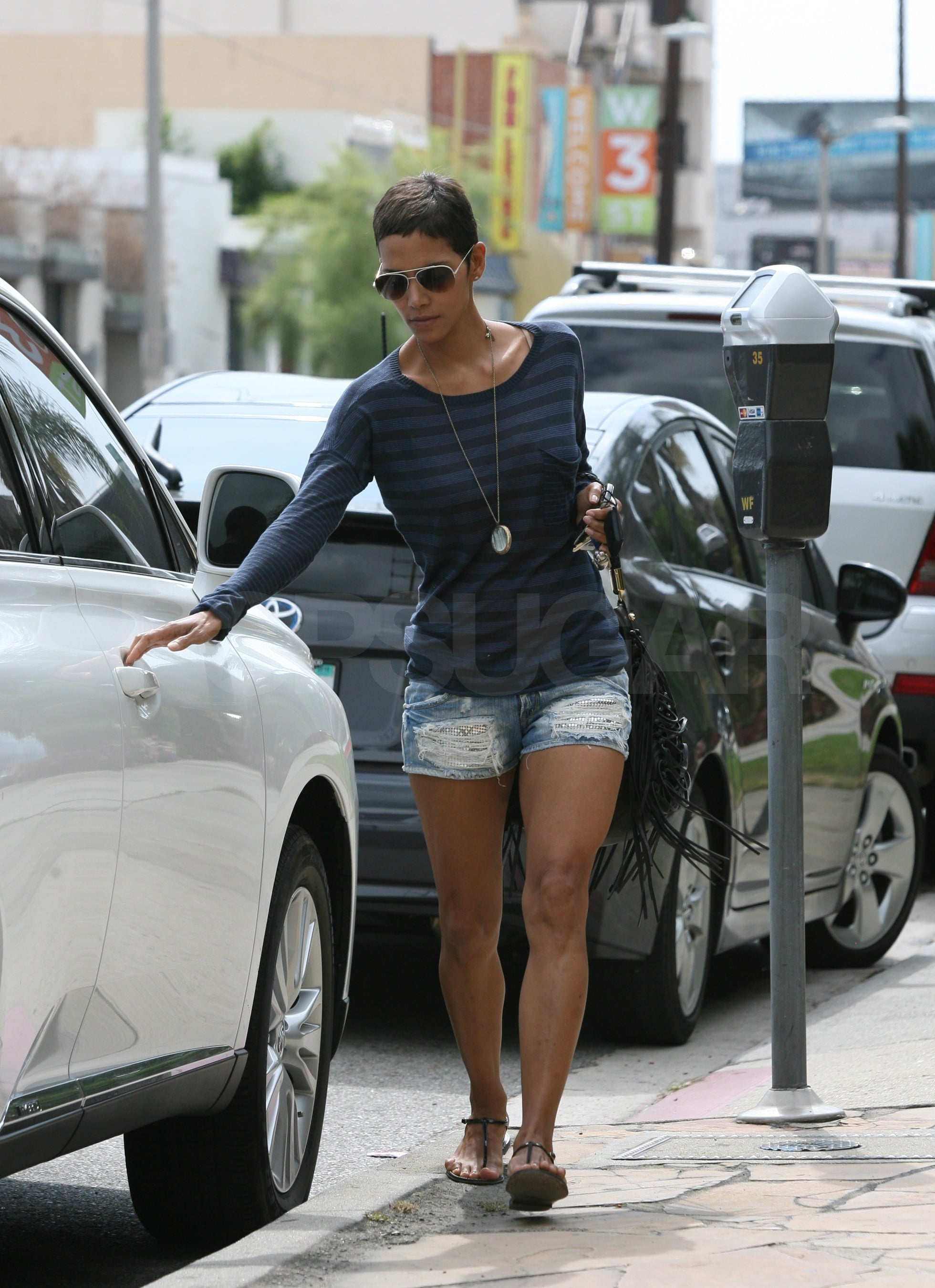 Halle Berry wore short denim shorts.
