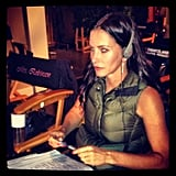 Josh Hopkins snapped his Cougar Town costar Courteney Cox directing an episode.  Source: Instagram user mrjoshhopkins