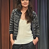 Katie Holmes wore a sweater and leather pants.