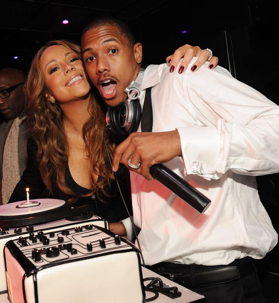 Mariah Carey hugged birthday boy Nick Cannon while in Las Vegas in October 2009.