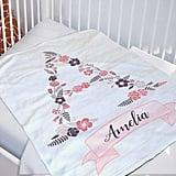 Floral Monogrammed Blanket
