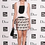 Christa B. Allen in Dior Pink and Black Bustier