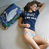 Bar Refaeli posed in her bed wearing a t-shirt and printed undies. Source: Instagram user barrefaeli